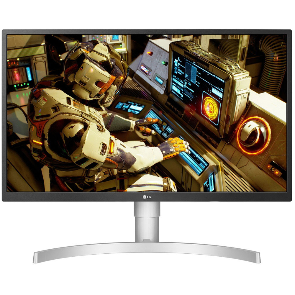 LG 27 Ultra HD Color Calibrated Monitor with Stand and OnScreen Control  White