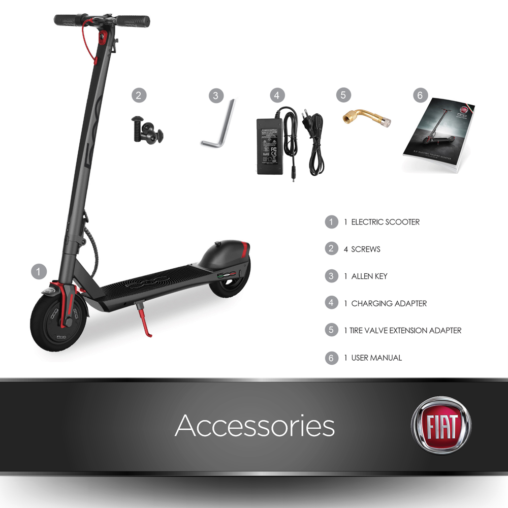 Fiat 3-Speed Portable Folding Electric Scooter 350W Motor  Black