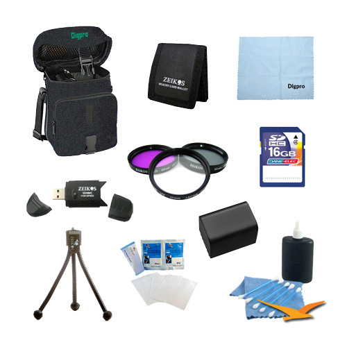 Battery 10 pc Kit Deluxe Filter Set 16gb SD Card & USB Reader Table-top Tripod Deluxe Gadget Bag Micro Fiber Cloth Lens Cleaning Kit Sony Handycam DCR-SX33 SX45 SX65 SX85 SR88 SR20 DCR - Special NP-FV70
