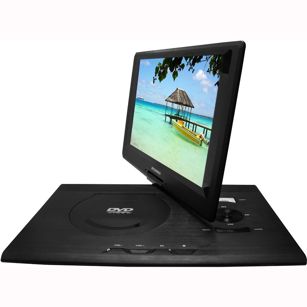 sylvania 13 3 swivel screen portable dvd player w usb sd. Black Bedroom Furniture Sets. Home Design Ideas