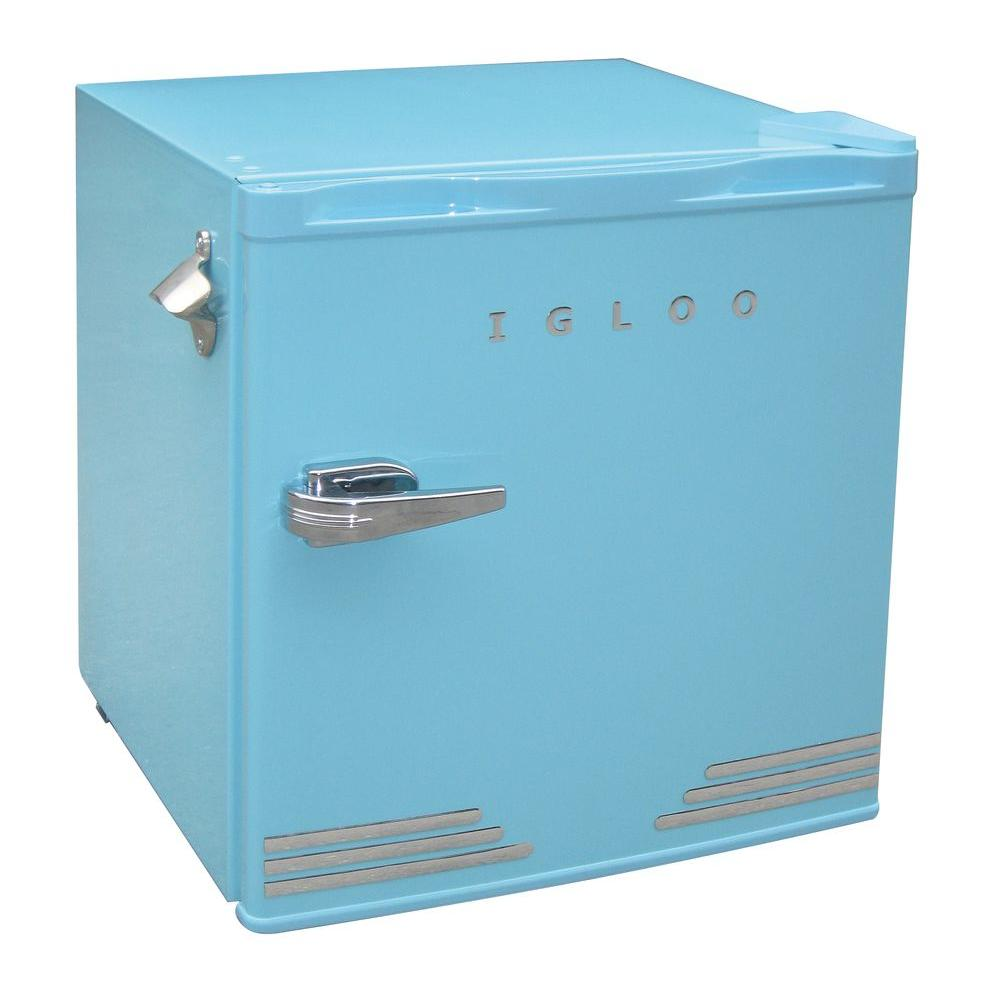 De S About Igloo 1 6 Cu Ft Retro Compact Refrigerator With Side Bottle Opener Blue