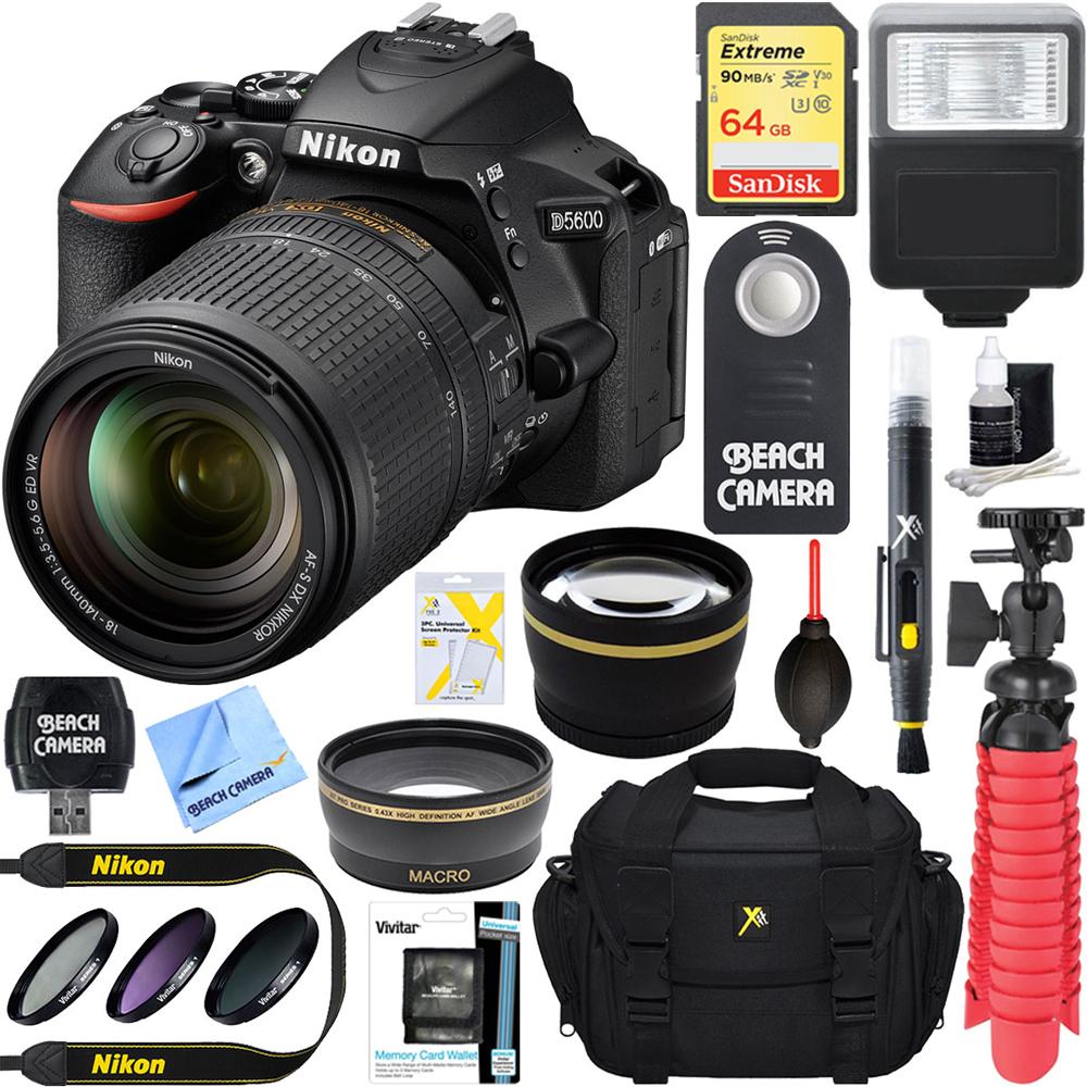 nikon d5600 24 2mp dslr camera af s 18 140mm ed vr lens memory flash kit ebay. Black Bedroom Furniture Sets. Home Design Ideas