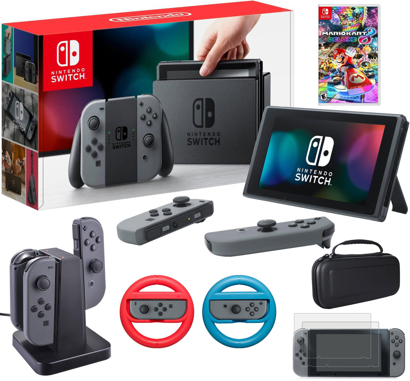 Details About Nintendo Switch 32 Gb Console With Mario Kart 8 Deluxe Accessories Bundle