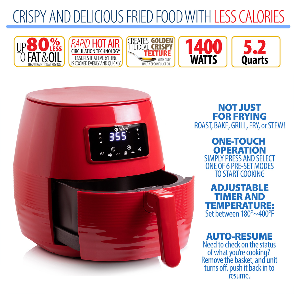 Deco-Chef-5-8QT-1400W-Digital-Electric-No-Oil-Air-Fryer-6-Cooking-Presets-Timer thumbnail 25