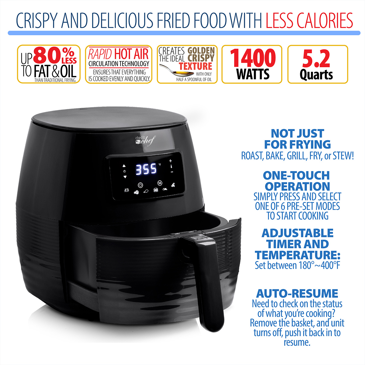 Deco-Chef-5-8QT-1400W-Digital-Electric-No-Oil-Air-Fryer-6-Cooking-Presets-Timer thumbnail 3