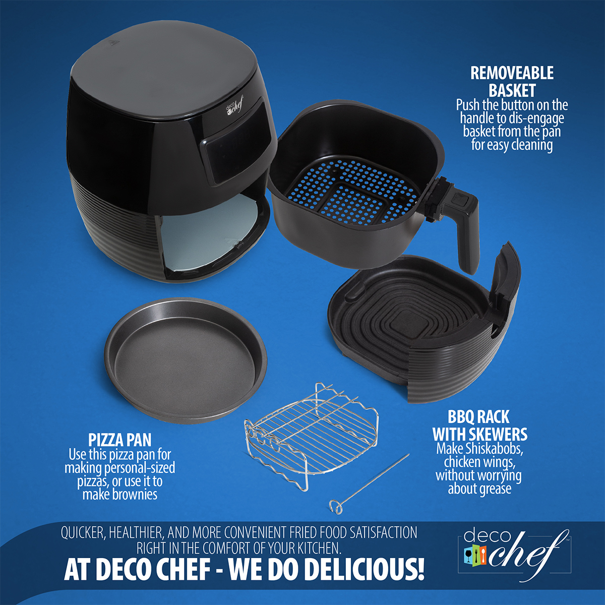 Deco-Chef-5-8QT-1400W-Digital-Electric-No-Oil-Air-Fryer-6-Cooking-Presets-Timer thumbnail 5