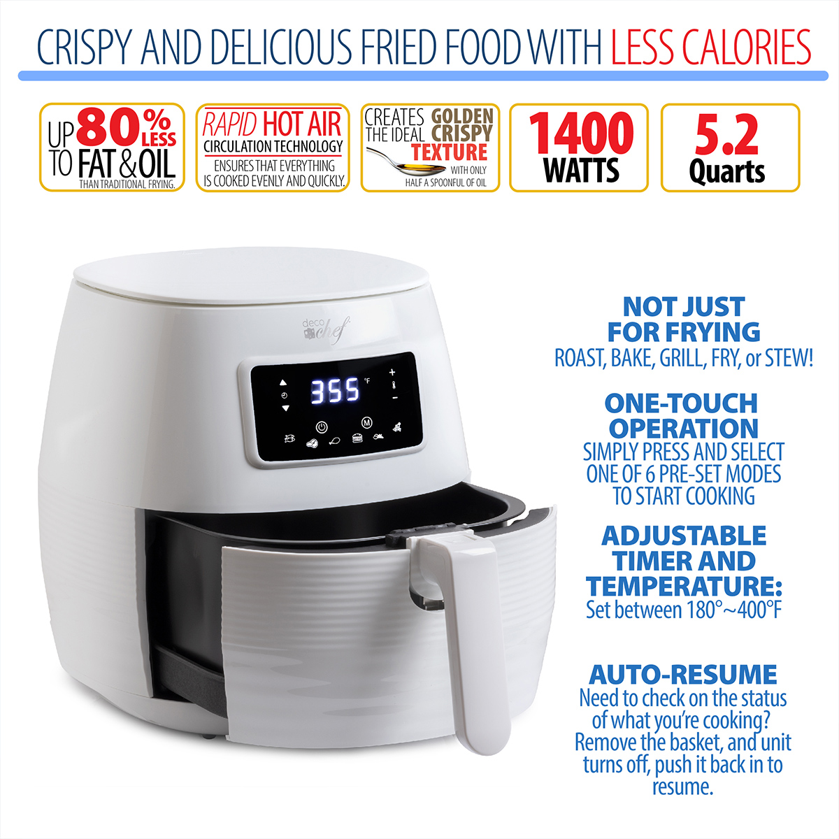 Deco-Chef-5-8QT-1400W-Digital-Electric-No-Oil-Air-Fryer-6-Cooking-Presets-Timer thumbnail 14