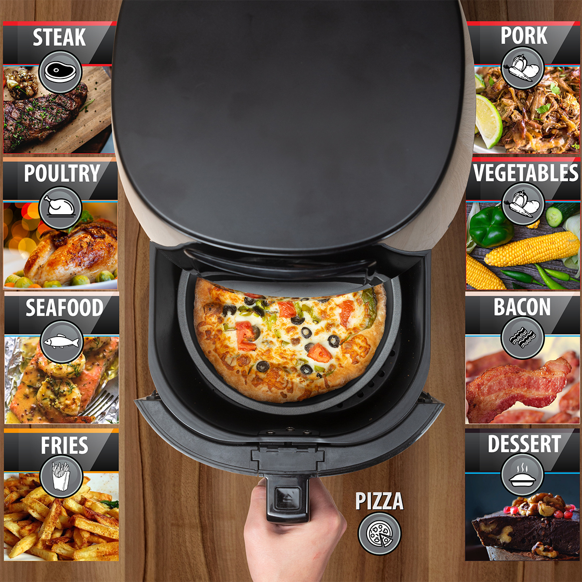 Deco-Chef-5-8QT-1400W-Digital-Electric-No-Oil-Air-Fryer-6-Cooking-Presets-Timer thumbnail 6