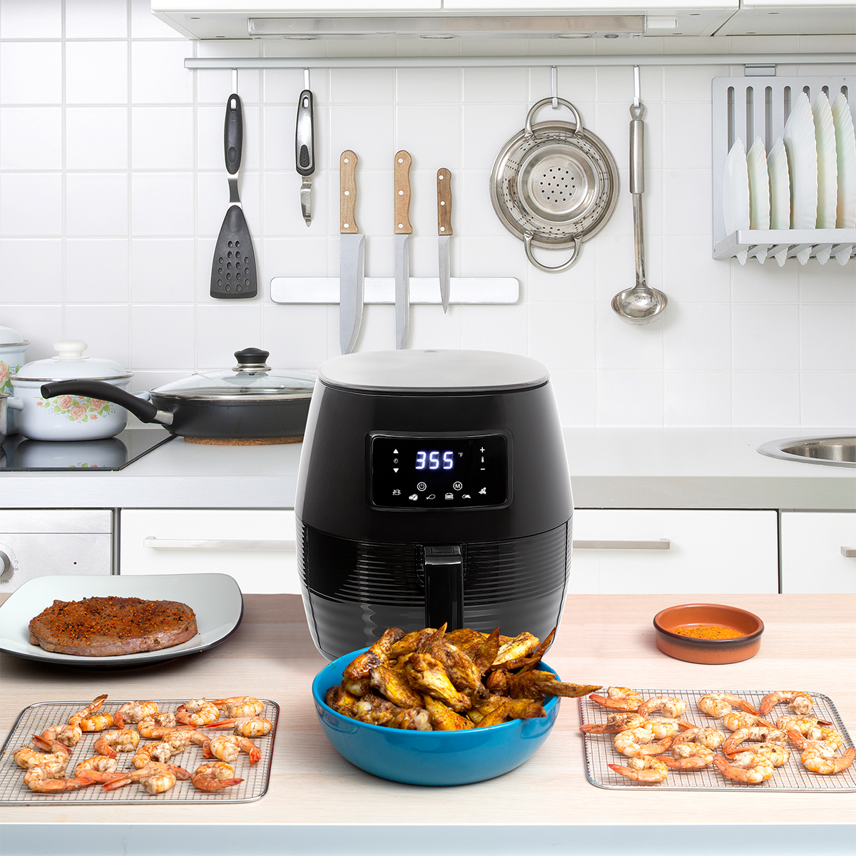 Deco-Chef-5-8QT-1400W-Digital-Electric-No-Oil-Air-Fryer-6-Cooking-Presets-Timer thumbnail 7