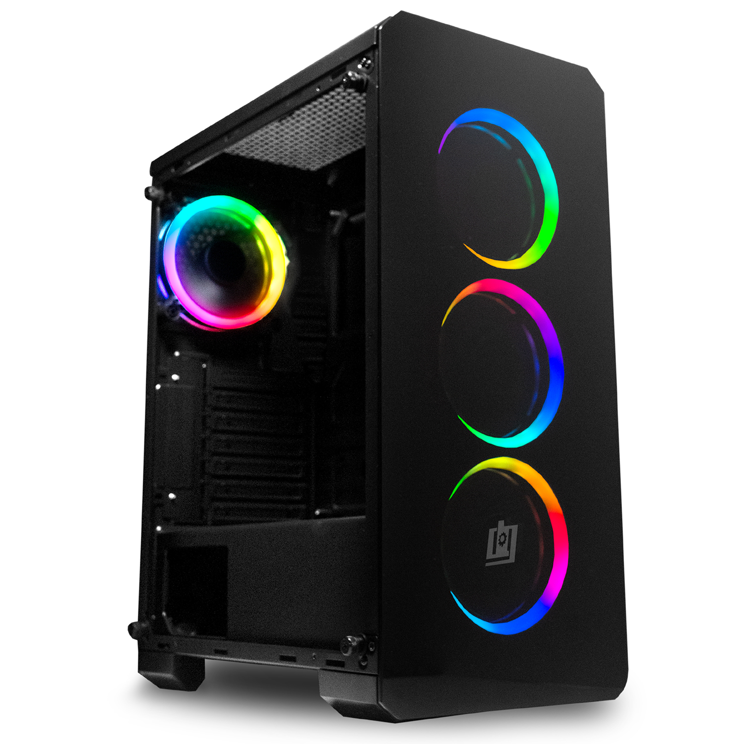 Deco Gear Mid-Tower PC Gaming Computer Case - Full Tempered Glass LED Lighting  eBay