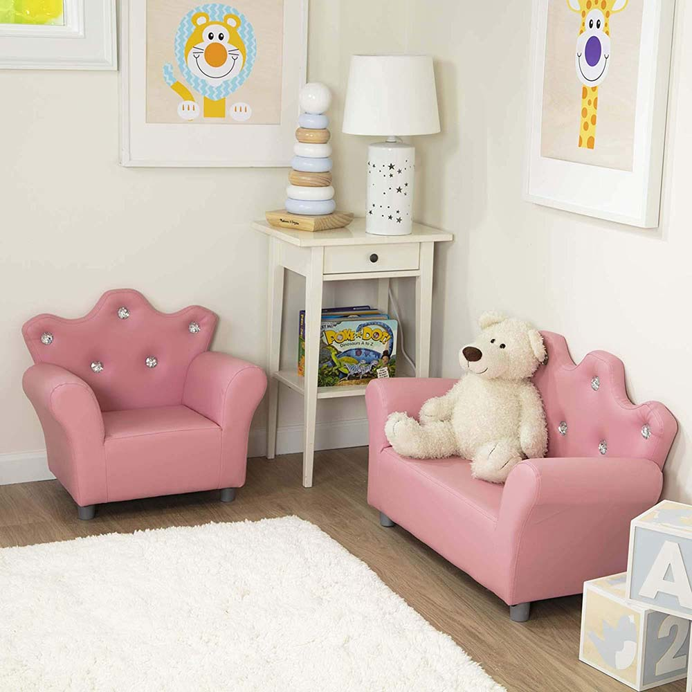Melissa and Doug Child's Crown Armchair, Pink Faux Leather ...