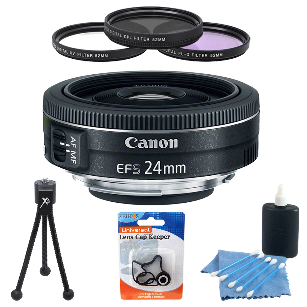 Canon Ef S 24mm F 28 Stm Camera Lens Bundle W 3 Pc 52mm Filter Cap Kit More Ebay